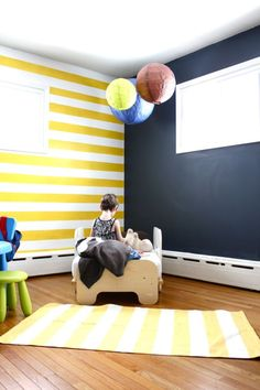 Striped wall & Chalkboard Paint (So your kids can draw on the wall! :) Love it!! I may do the chalkboard wall in a different color.