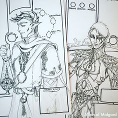 A couple of the Custom Character Sheets in their inking phase.