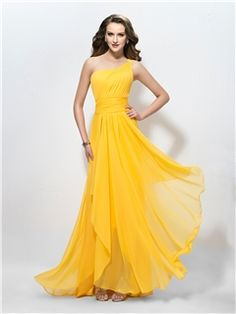 $ 89.29 Charming  One Shoulder Ruffles  A-Line Applique Sequins Prom Dress/Bridesmaid Dress