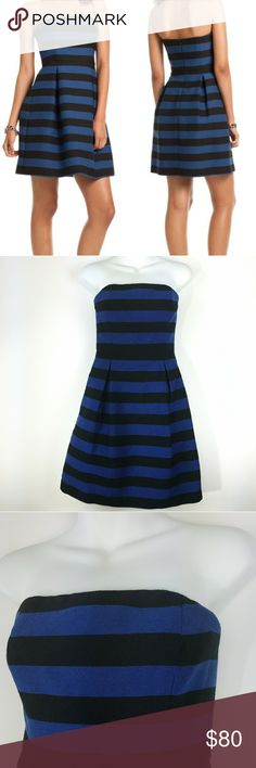 278bc992725 TRINA TURK Blue Black Strapless Dress Sz 4 TRINA TURK Blue Black Stripe  Messily Mercer Strapless