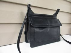 Fossil Black Cross Body shoulder bag Organizer Leather #Fossil #CrossbodyShoulderBag
