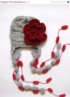 ON SALE Baby Girls Hat Photo Prop , Newborn Hat Baby Hat Earflap  , Knit Baby Hat , Crochet Flower Hat ,Photo Prop. $16.50, via Etsy.