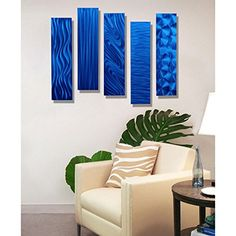 Blue Rectangular Metal Wall Art Accent - Multi Panel Wall - Modern Contemporary Art Decor - 5 Easy Pieces Blue By Jon Allen   Creative, Cool and Unique Modern Wall Art Decor  Unique Modern wall art decor is a fun, cool and trendy way to decorate any room in your home.  You will appreciate the many types of wall hangings to pick from.  You will find rustic, vintage and traditional wall art along with wall art full of bold, abstract and vibrant colors.  In addition to the variety you will val