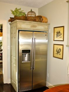 french country kitchen cabinets..... Move the fridge down to leave more room for cabinets. Use old door for side panel.