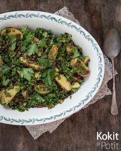 Linssi-perunasalaatti lehtikaalilla – Potato Salad with Lentils and Kale | Kokit…