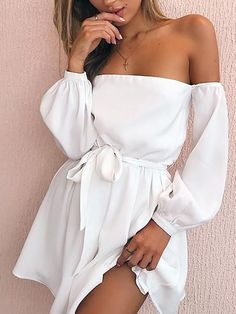 Trendy Off Shoulder Belted Casual Dress - Trendy Dresses Casual Dress Outfits, Mode Outfits, Girly Outfits, Stylish Outfits, White Casual Dresses, Casual Clothes, Elegant Outfit, Mode Inspiration, Pretty Dresses