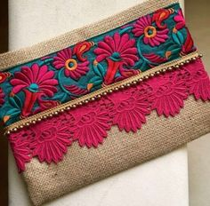 Floral Boho Clutch Bohemian Clutch Gift for Her Ethnic Bag Women's Handbag Clutch Handbag Boho Clutch, Clutch Purse, Floral Clutches, Floral Bags, Jute Fabric, Fabric Bags, Vintage Embroidery, Embroidery Designs, Embroidery Dress