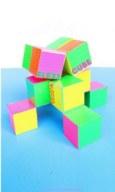 Make a simple DIY Toy that looks very complex! Flexicube Blocks have only three hinge points but are mesmerizing puzzles that flex and bend.