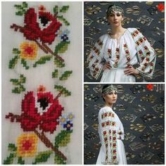 peasant blouse romanian blouse La Blouse Roumaine peasant handmade blouse… Hand Embroidery Dress, Folk Embroidery, Embroidery Patterns, Sewing Patterns, European Costumes, Beaded Banners, Palestinian Embroidery, Folk Fashion, Folk Costume