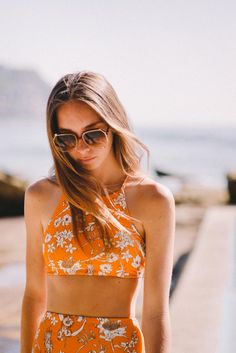 Camp cove swim shenay carey swimsuits two piece orange flora Summer Of Love, Summer Looks, Outfit Strand, Summer Outfits, Cute Outfits, Vogue, Beachwear, Swimwear, Cute Swimsuits