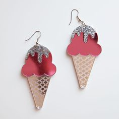 """You scream for ice cream, I scream for ice cream, we all scream for ice cream. - Handmade item - 3"""" long and 1.5"""" wide Materials: acrylic, studs Returns and Exchanges Policy Shipping Specifications: -"""