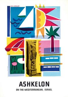 Ashkelon Israel tourism #poster by Cyla Menusy (1960s)