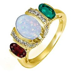 Kay - Lab-Created Opal Diamond Three Stone Ring Yellow Gold
