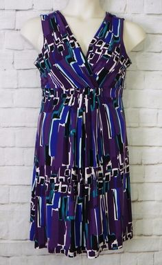 Womens MERONA Purple Black Blue Abstract Geo Print Empire Waist Dress Size Small #Merona #EmpireWaist #CasualWeartoWork