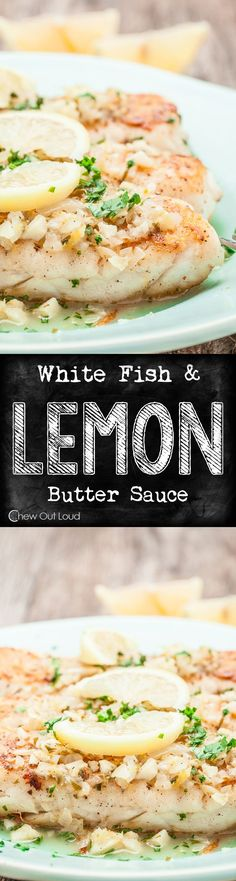 Scrumptious, Flaky, Tender White Fish...bathed in a glorious lemon butter sauce. Healthy, delicious, eat-all-you-want kind of yummy dinner!  #seafood #fish #recipe