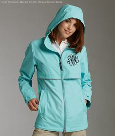 Monogrammed rain jacket Charles River Rain by EmbellishItBoutique
