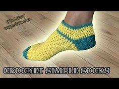Knitting Patterns Slippers 211 How to Crochet Simple Slipper Socks (Heklane nazuvice) Poncho Knitting Patterns, Knitting Stitches, Knitting Socks, Crochet Patterns, Crochet Girls, Patterned Socks, Slipper Socks, Crochet Slippers, Clothing Patterns