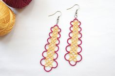 Handmade tatted earrings in dangle style red and by boutiqueGARO, $10.00