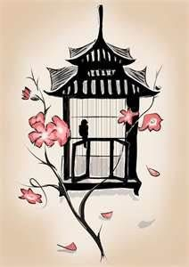 nice oriental feel - Bird Cage Tattoo, really love the flowers!