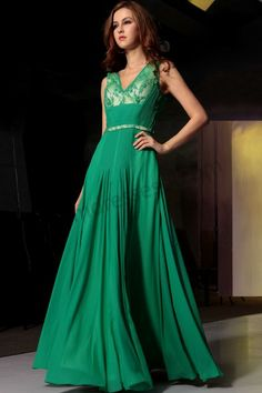 Green Lace V-neck Backless Ruffle Chiffon Dinner Party Dress S727
