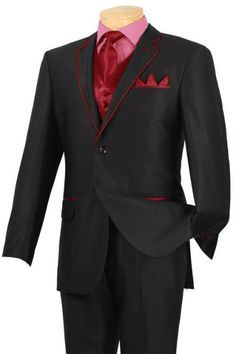 #New #tuxedo #black with #red trim #two #button #notch #5 pc set with #fancy #vest.$585