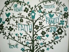 Gray and Teal Personalized Whimsical Heart Shaped Tree by KraftinMommy