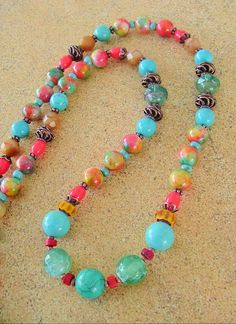 Boho Necklace Tropical Paradise Colorful Jewelry by BohoStyleMe