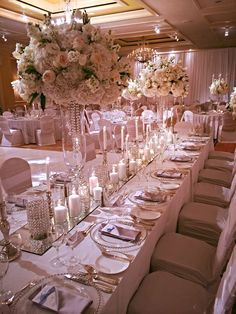 Winter Wedding Ritz Carlton/HeatherLily, Inc. Romantic Wedding Receptions, Wedding Reception Decorations, Wedding Themes, Wedding Centerpieces, Elegant Wedding, Wedding Table, Dream Wedding, Wedding Ideas, Rose Gold Theme