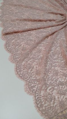 Salmon Pink with gray lace fabric Chantilly Lace, French Lace, Bridal lace Wedding Lace White Lace  Scalloped Eyelash lace Lingerie Lace