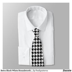Shop Retro Black White Houndstooth Weaving Pattern Neck Tie created by freshpatterns. Tessellation Patterns, Weaving Patterns, Hounds Tooth, Custom Ties, Modern Times, Absolutely Fabulous, Suit And Tie, Pattern Fashion, Black And White
