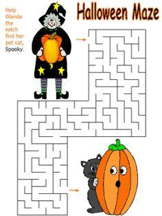 Mazes for little kids. Halloween maze