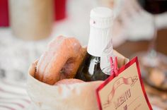 Reception favors: Donuts and champagne