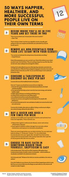 50 Ways Successful People Live On Their Own Terms [Infographic] – The Roosevelts Self Development, Personal Development, Life Skills, Life Lessons, Life Tips, Guter Rat, Ways To Be Happier, Successful People, Good Habits