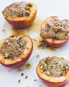 Baked Nectarines with Pistachios