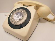 Original Vintage Retro 1970's GPO 746 Rotary Dial Ivory Telephone Restored