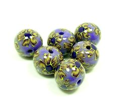 Flowers on Purple - Handmade Polymer Clay Beads
