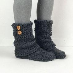 Women's Crochet Dark Gray Slouchy Slipper Boots, Crochet Slippers, Crochet Booties, Crochet Leg Warmer Boot, Knitted Grey Slipper Boots