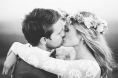 boho bride in our Antonia lace wedding dress www.graceloveslace.com #bohobride #boho #laceweddingdress