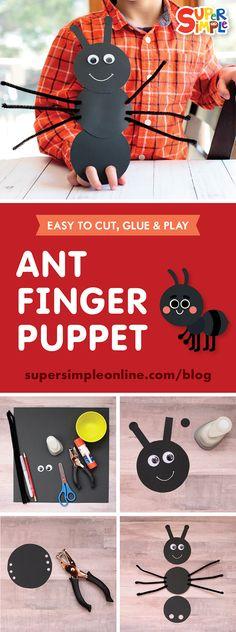 Let's make an Ant Finger Puppet! Let's make an Ant Finger Puppet! Ant Crafts, Insect Crafts, Paper Crafts For Kids, Easy Crafts For Kids, Toddler Crafts, Insect Activities, Art Activities For Kids, Toddler Activities, Preschool Activities