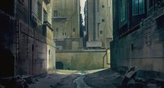 Ghost in the Shell, in addition to being a badass anime movie, has some of the most elaborate and detailed backgrounds I've ever seen in a film making every frame an incredible work of art. Background Drawing, Animation Background, Good Animated Movies, Anime Ghost, Cyberpunk City, Scenery Wallpaper, Landscape Concept, Cg Artwork, Matte Painting