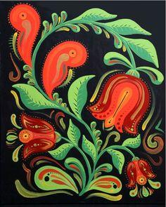 Dutch style Tulip 8x10 Digital Print of an acrylic painting Folk style. $20.00, via Etsy.