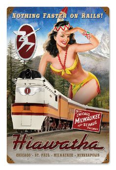 Vintage Pin-up Girl Railroad Signs - Vintage Railroad Art Train Posters, Pin Up Posters, Railway Posters, Gi Joe, Estilo Pin Up, Art Through The Ages, Train Art, Train Pictures, Milwaukee Road
