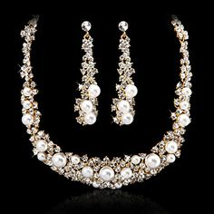 Gorgeous Alloy Imitation Pearl And  Czech Rhinestones Jewelry Set Including Necklace And Earrings(Silver And Gold) – USD $ 19.99