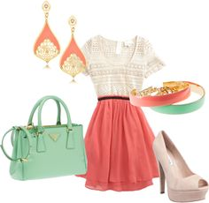 coral, created by chelsi-a on Polyvore