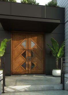 Mid Century 4 Panel Contemporary Modern 3 Lite Mahogany Exterior or Interior Double Door Doors, Modern Garage Doors, Modern Exterior Doors, Double Doors, Double Doors Interior, Modern Garage, Wooden Door Design, House Designs Exterior, Modern Exterior
