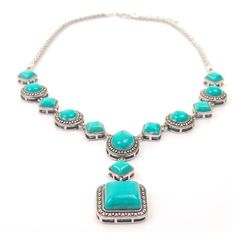 Charm Chic Statement Turquoise Necklace chain Charm Chic Women's Statement Turquoise Necklace. Beautiful necklace. Looks great with any outfit.                                                         100% brand new and high of quality Metal: Alloy Material: Turquoise Color: image Package: 1 x Necklace. Jewelry Necklaces