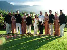 The wedding party in sunset light at Wedding Walk at Hanalei Bay Resort. Wedding Stuff, Dream Wedding, Wedding Minister, Hanalei Bay, Kauai Wedding, Wedding Officiant, Wedding Details, Wedding Ceremony, Weddings