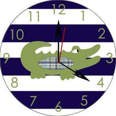 Items similar to alligator nursery alligator room decor wooden alligator polka dot clock alligator clock children's clock wooden clock nursery clock on Etsy Boy Room, Kids Room, Child's Room, Navy And Green, Navy And White, Alligator Nursery, Baby Shower Gifts, Baby Gifts, Bay And Bay