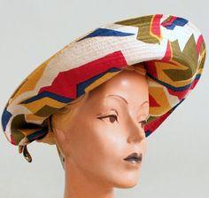 Jack McConnell - Chapeau de Plage - Paille et Soie Multicolore - Années 60