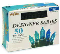 The Jolly Christmas Shop - Teal Mini Incandescent Lights 50 ct, $7.89 (http://www.thejollychristmasshop.com/teal-mini-incandescent-lights-50-ct/)